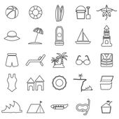 Beach line icons on white background — Stock Vector