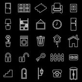 House related line icons on black background — Stock Vector
