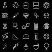 Science line icons on black background — Stock Vector