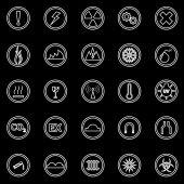 Warning sign line icons on black background — Wektor stockowy