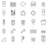 House related line icons with reflect on white background — Stock Vector
