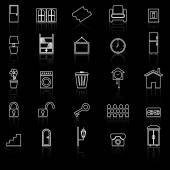 House related line icons with reflect on black background — Stock Vector