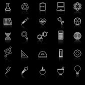 Science line icons with reflect on black background — Stock Vector