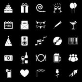 Birthday icons on black backgound — Stock Vector