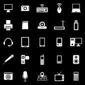 Gadget icons on black background — Stock Vector
