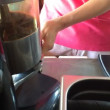 Barista presses the coffee for espresso-Dolly shot — ストックビデオ #71970793