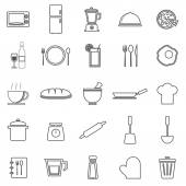 Kitchen line icons on white background — Stock vektor