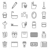 Bathroom line icons on white background — Stock Vector