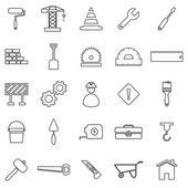 Construction line icons on white background — Stock Vector