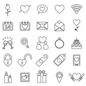 Valentine's day line icons on white background — Stock vektor