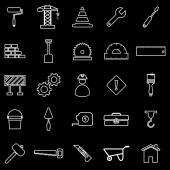 Construction line icons on black background — Stock Vector