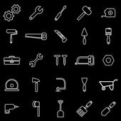 Tool line icons on black background — Stock Vector