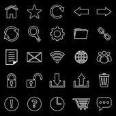 Tool bar line icons on black background — Cтоковый вектор