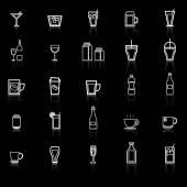 Drink line icons with reflect on black — Stock Vector