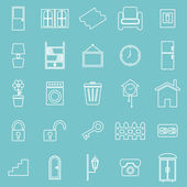 House related line icons on blue background — Stock Vector