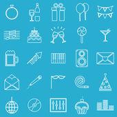 Celebration line icons on blue background — Stock Vector