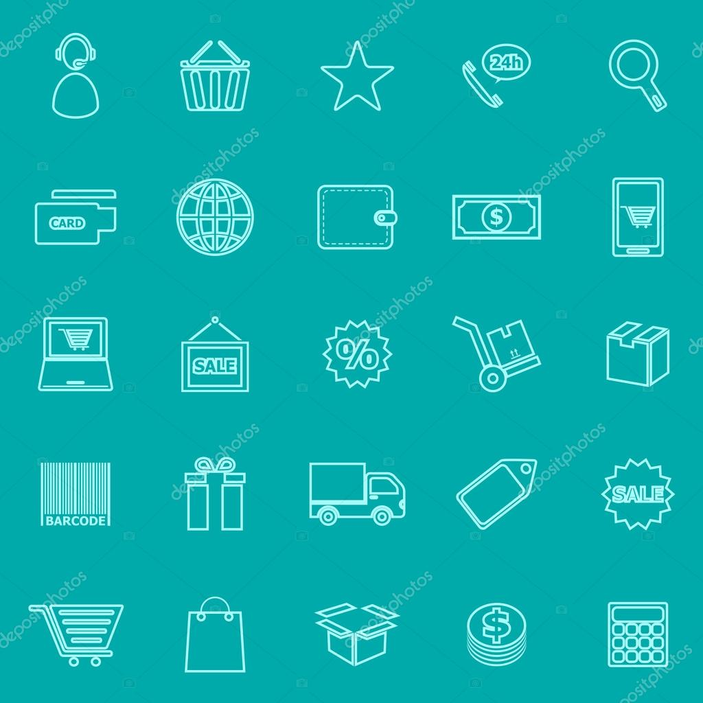 E commerce background images - E Commerce Line Icons On Green Background Stock Vector 76649289