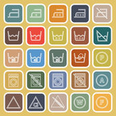 Laundry line flat icons on yellow background — Stock Vector