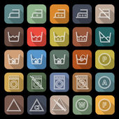Laundry line flat icons with long shadow — Stock Vector