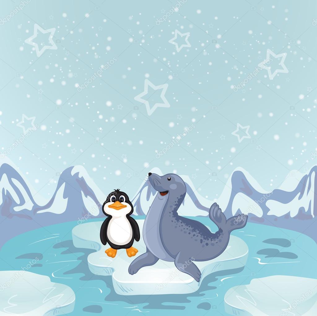 Pinguim em um pouco de vetor de gelo