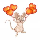 Cute mouse with balloons — Stockvector