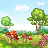 Beautiful landscape with mushrooms — Stock Vector