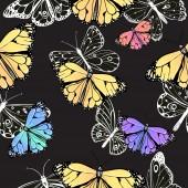 Modèle sans couture de papillons — Vecteur