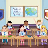 Écoliers de la classe à la leçon — Vecteur
