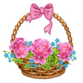 Basket with pink roses. — Stock Vector