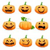 Set pumpkins for Halloween isolated on white — Stock Vector