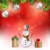 与雪人圣诞图. — 图库矢量图片