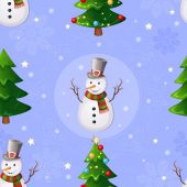 Christmas seamless pattern with snowman and Christmas tree. — ストックベクタ