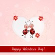 Valentine's day illustration with cute couple of lady bugs. — Stock Vector #61671563
