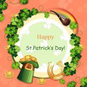Saint Patrick Tageskarte mit Hut, Hufeisen und Kleeblatt — Stockvektor
