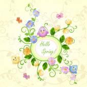 Άνοιξη εικονογράφηση με όμορφα λουλούδια και χαριτωμένα πουλιά και τις πεταλούδες. — Διανυσματικό Αρχείο