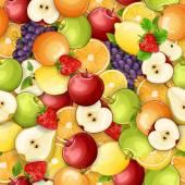 无缝模式与新鲜水果. — 图库矢量图片