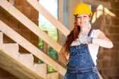 Woman Bricklayer Thumbs Up — Stock Photo