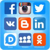 Social networking applications on Apple iPhone — Stock Photo
