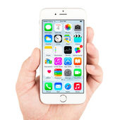 White Apple iPhone 6 displaying homescreen — Stock Photo