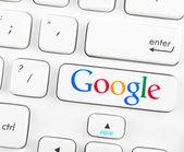 Google logotype on a keyboard button — Stock Photo