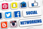 Most popular logotypes of social networking applications — Foto Stock