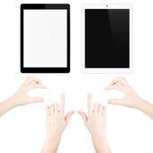 Verzameling van geïsoleerde gadgets en handen — Stockfoto