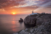 Lighthouse Sao Vicente during sunset, Sagres Portugal — Stock Photo