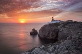 Lighthouse Sao Vicente during sunset, Sagres Portugal — Fotografia Stock