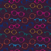 Seamless pattern with colorful retro glasses — Stock Vector