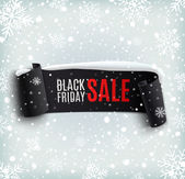 Black Friday sale background with black realistic ribbon banner and snow — Stock Vector
