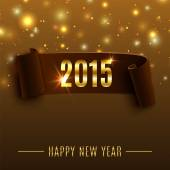 Happy New Year 2015 celebration background with realistic curved ribbon — Stockvector