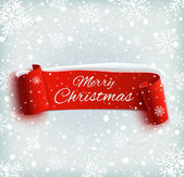 Merry Christmas celebration background with red realistic ribbon banner and snow — Cтоковый вектор