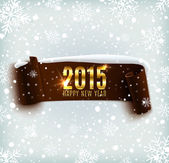 Happy New Year 2015 celebration background with realistic curved ribbon and snowflakes — Stock vektor
