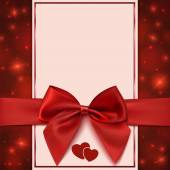 Greeting card template with red bow, ribbon and two hearts — Stock vektor